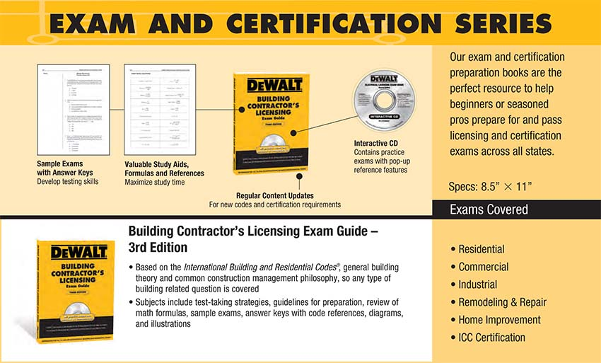 dewalt building contractor s licensing exam guide dewalt series