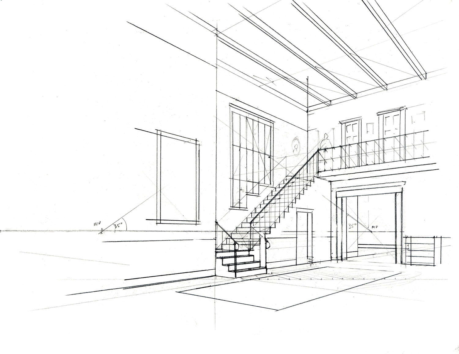 Open door drawing perspective - Stage 2