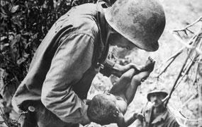 Soldiers with baby