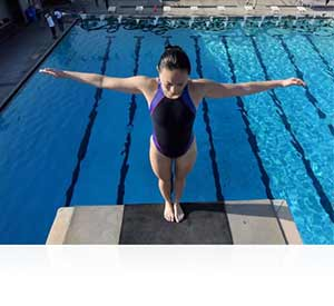 Nikon 1 V3 photo of a woman on a high diving board showing cinema quality