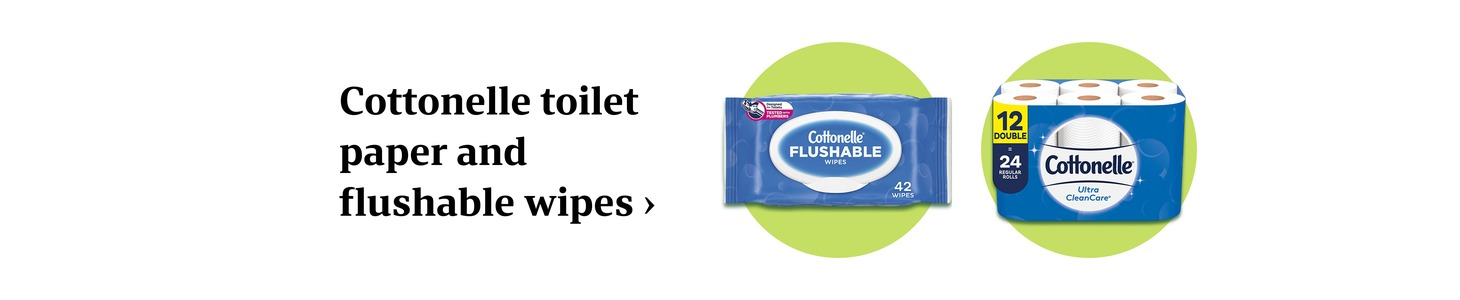 Cottonelle toilet paper and flushable wipes