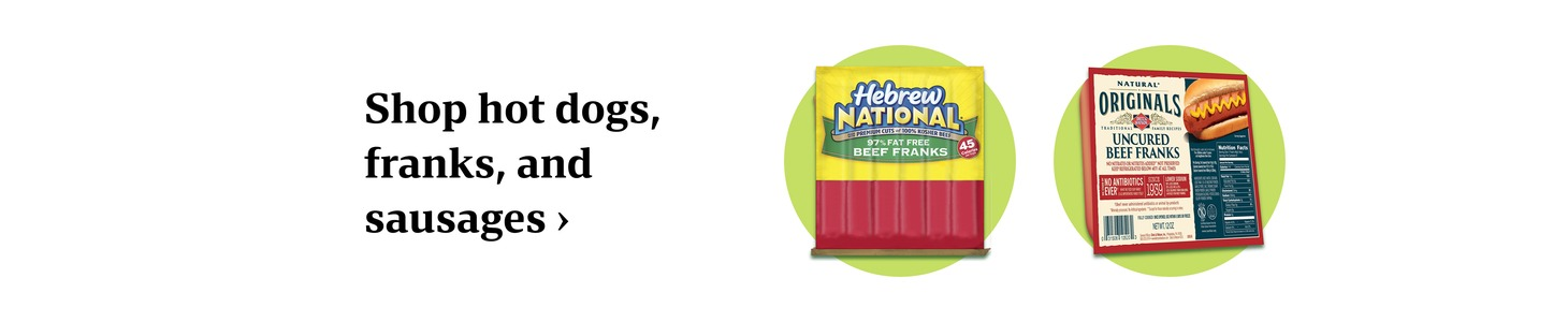 Shop hot dogs, franks, and sausages