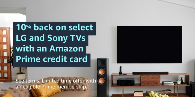 Save 15% or more on select TVs, plus 10% back with an Amazon Credit Card