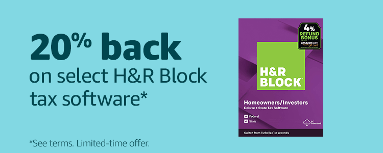 20% back on select H&R Block tax software*