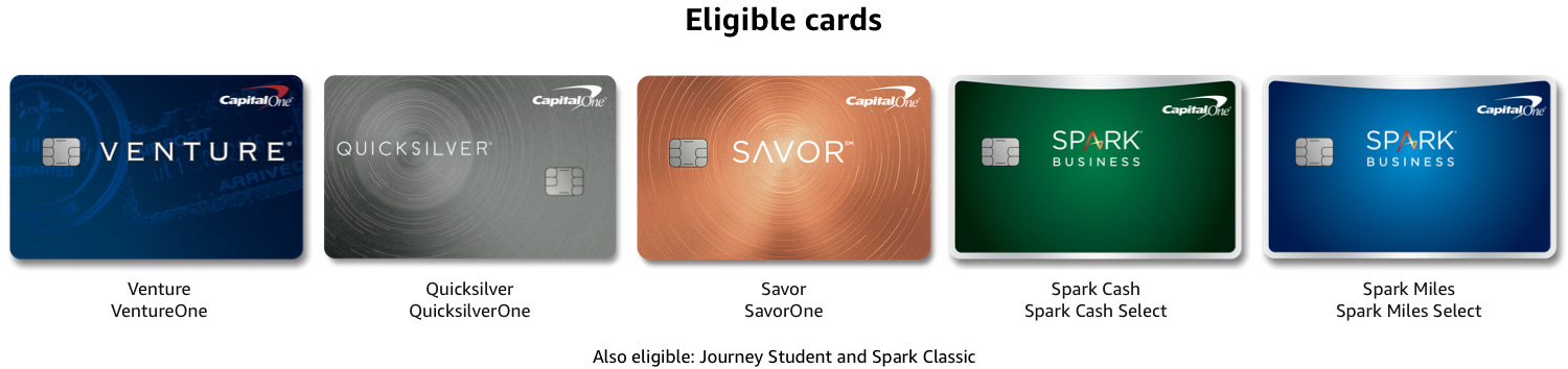 Shopping with rewards at Amazon.com is available to eligible Venture, VentureOne, Quicksilver, QuicksilverOne, Savor, SavorOne, Spark Miles, Spark Miles Select, Spark Cash, Spark Cash Select, Spark Classic, and Journey Student accountholders with accounts open and in good standing.