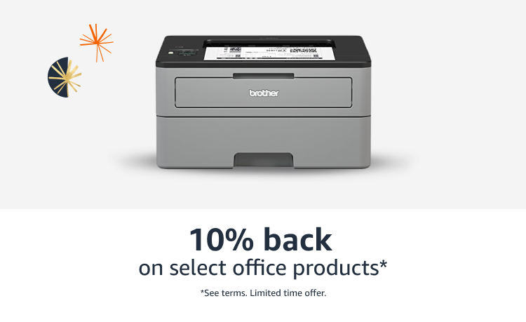 10% back on select office products*  See terms limited time offer.
