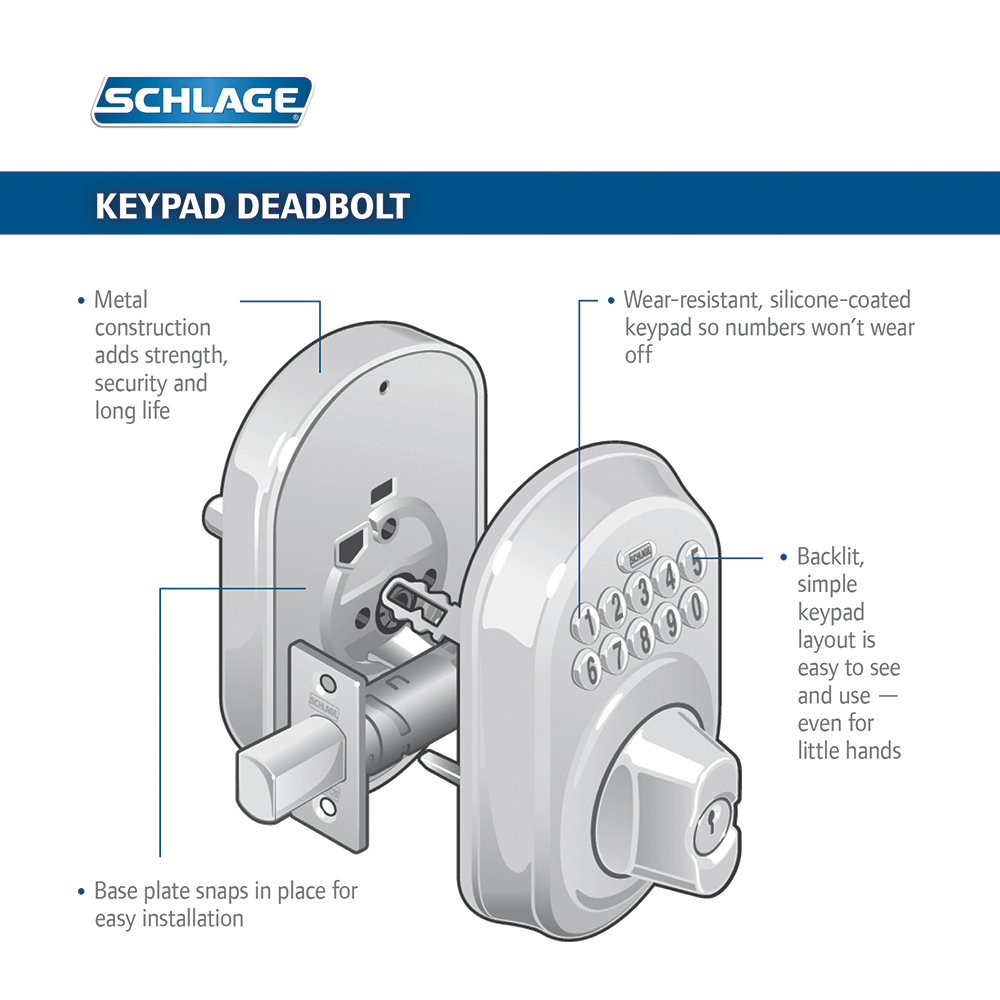 Schlage Fe365 V Cam 716 Acc Camelot Keypad Deadbolt With