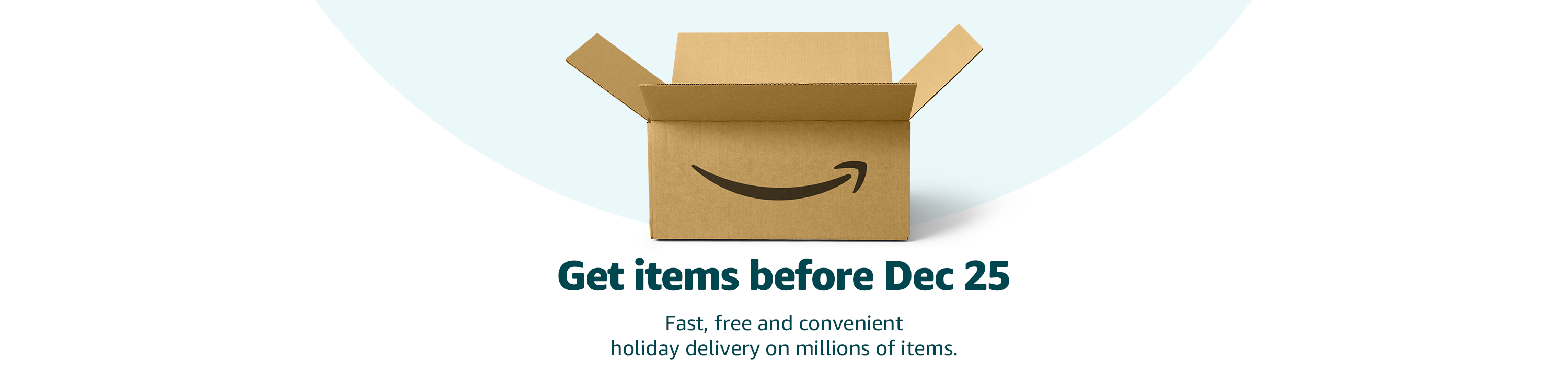 Get items before Dec 25: Millions of items delivered fast, free, conveniently.