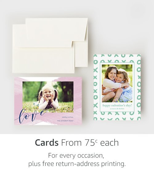 Cards from 75c each | For every occasion, plus free return-address printing.