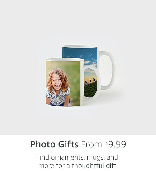 Photo Gifts from $9.99 | Find ornaments, mugs, and more to add a festive touch.