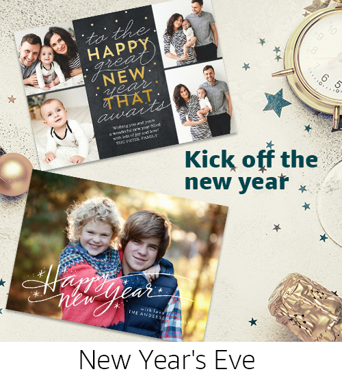 Cards | Kick off the New Year with NYE photo cards and invitations