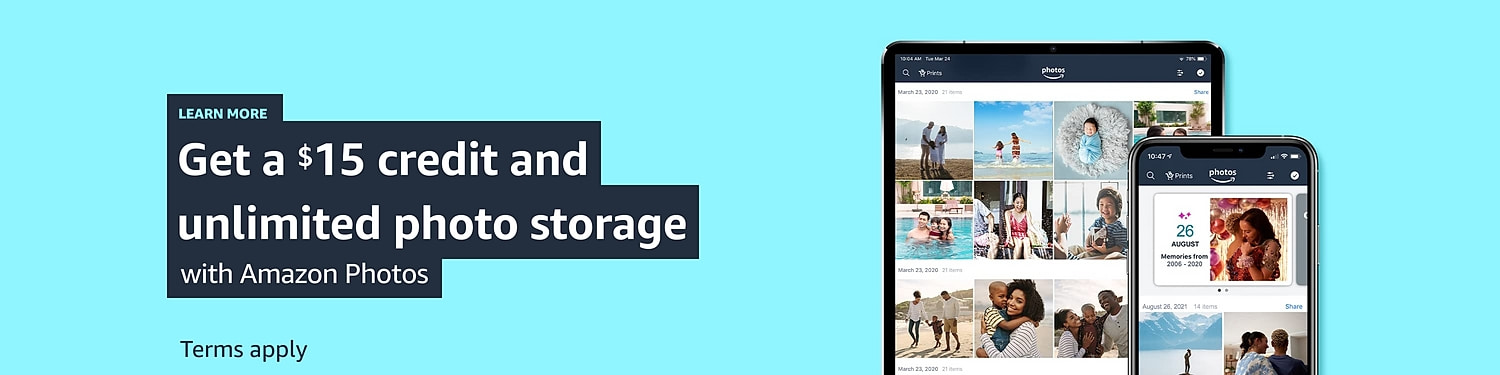 Get a $15 credit and unlimited photo storage with Amazon Photos