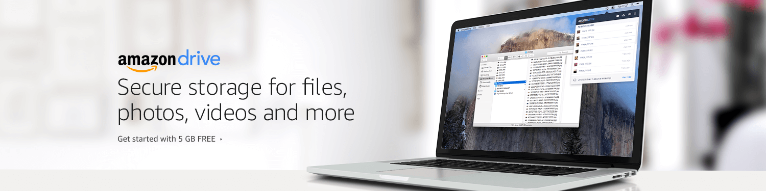 Amazon Drive: Secure storage for files, photos, videos and more. Get started with 5 GB FREE