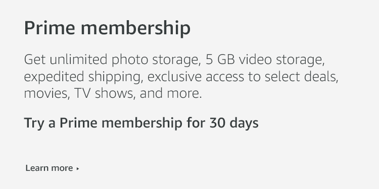 Get unlimited photo storage, 5 GB video storage, expedited shipping, and more with Prime membership