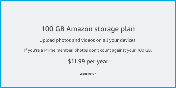 100 GB Amazon Digital Storage plan