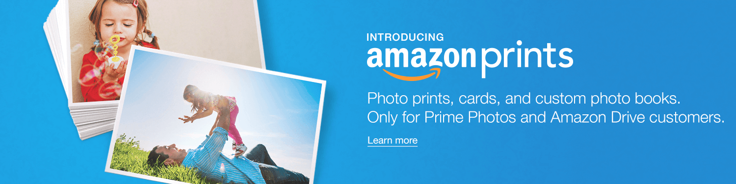Amazon Prints. Photo prints, cards, and custom photo books. Only for Prime Photos and Amazon Drive customers.