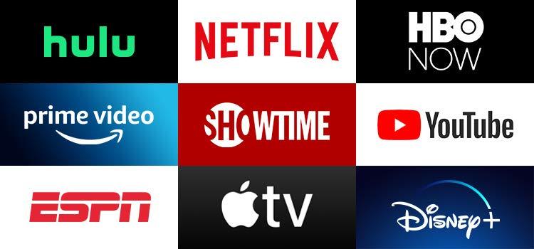 Grid of apps (Hulu, Netflix, HBO NOW, Prime Video, SHOWTIME, YouTube, ESPN, Apple TV, Disney)