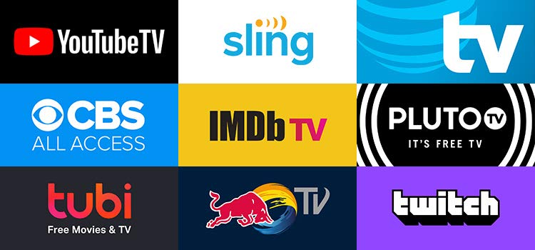 Grid of apps (NBA, Sling TV, AT&T TV, CBS AA, IMDB TV, Pluto TV, Tubi, RedBull TV, Twitch))