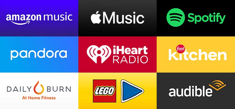 Grid of apps (Amazon Music, Apple Music, Spotify, pandora, iHeart Radio, Food Network Kitchen, Daily Burn, Lego, Audible))