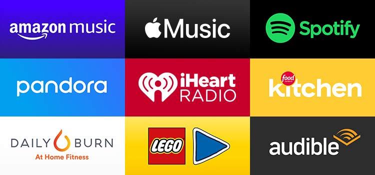 Grid of apps (Amazon Music, Apple Music, Spotify, pandora, iHeart Radio, Food Network Kitchen, Daily Burn, Lego, Audible))