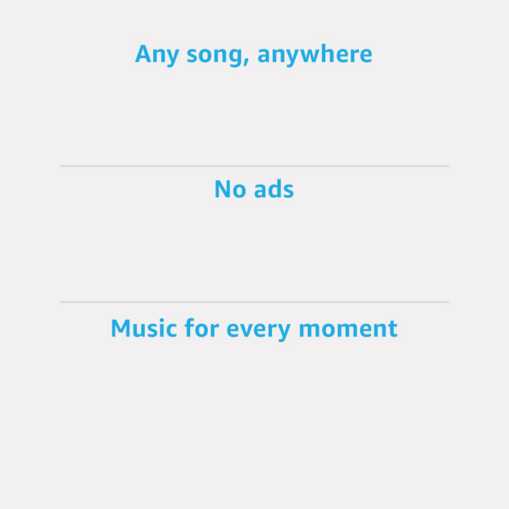 Any song anywhere. No ads. Music for every moment.