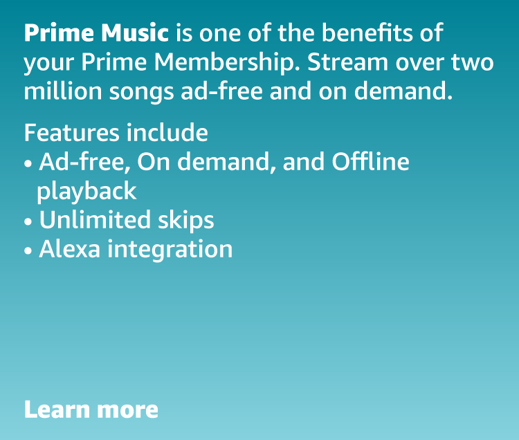 Prime Music is one of the benefits of your Prime membership. Stream over two million songs ad-free and on demand.