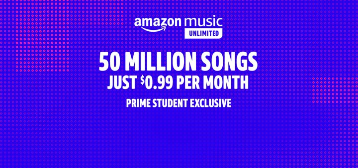 Amazon Music Unlimited. Unlimited access to 50 million songs, ad-free. Just $0.99 a month. Prime Student exclusive.