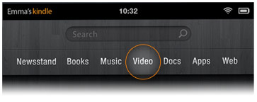 Picture of Video tab from the Home screen