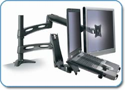 3M MA220MB Easy-Adjust Dual Monitor Arm - laptop and LCD screen