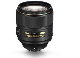 Product shot of AF-S NIKKOR 105mm f/1.4E ED lens