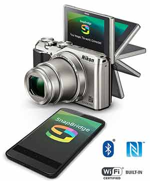Nikon A900 and a smartphone with the SnapBridge logo on the LCDs
