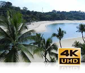 Nikon B700 photo of a lagoon and palm trees inset with the 4K UHD logo showcasing video features