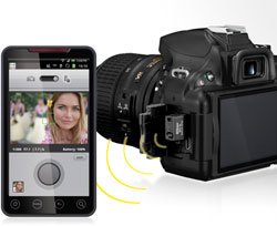 photo of D5200 and smartphone with WU-1a and wireless utility app