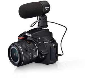 Nikon D5500 with a lens and ME-1 Stereo Microphone showing cinematic possibilities
