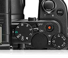 Photo of the top of the Nikon DL24-500 showing the mode dials and buttons