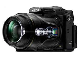 Nikon DL24-500 composite showing the lens elements and image sensor