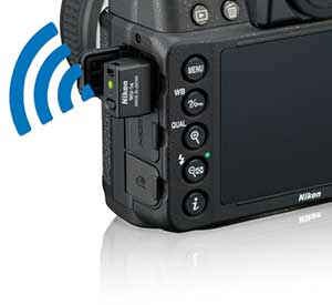 Nikon Df showing optional WU-1a wireless mobile adapter.