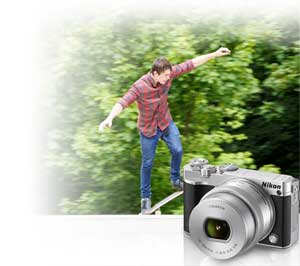 Photo of the Nikon 1 J5 and a skateboarder shot with the J5