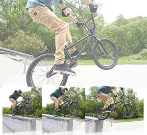 Nikon 1 J5 photos of a guy doing tricks on a bike showing high continuous shooting speed