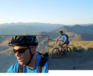Photo of a man on a mountain bike, inset with a closeup of him, shot with the COOLPIX L620