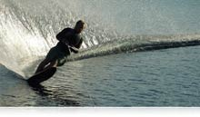 photo of a waterskiier showing the low-light capabilities of the COOLPIX L620