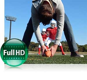 Nikon COOLPIX L830 photo of a guy hiking a football to two boys in football gear inset with the Full HD video icon.