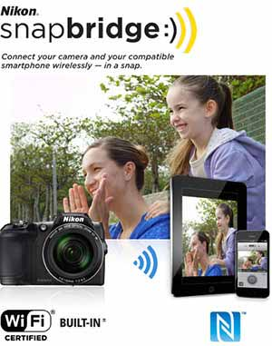Nikon COOLPIX L840 photo of mom and daughter looking off camera with image on phone and tablet and snapbridge logo showing wireless sharing