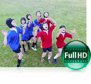 Nikon COOLPIX L840 photo of boys playing rugby and the Full HD video icon highlighting video capture