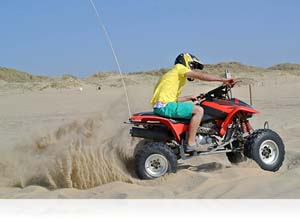 1 NIKKOR photo of a guy on an ATV on the beach showing blur-free action