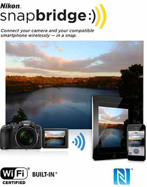 Nikon COOLPIX P610 photo of a lake and shown on a phone and tablet and the snapbridge logo