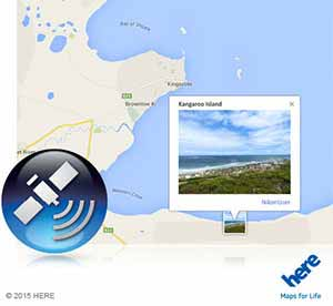 Nikon COOLPIX photo of a beach scene on a map and GPS icon inset showing geotagging