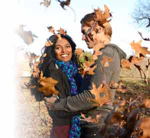 Nikon 1 S1 photo of couple in autumn surrounded by leaves