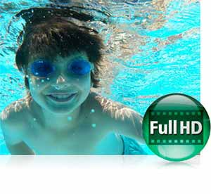 Nikon COOLPIX S33 photo of a boy underwater and the Full HD video icon highlighting video capture