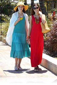 Nikon COOLPIX S3600 photo of two women in sundresses showing Smart Portrait System.